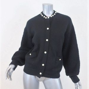 Chanel Faux Pearl-Trim Cardigan Black Mixed Knit